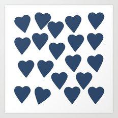Hearts Navy Art Print
