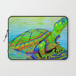 Colorful Psychedelic Neon Painted Turtle Rainbow Turtle Laptop Sleeve