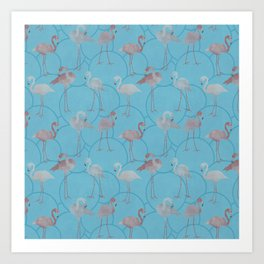 Walk with pink flamingos on bright blue Art Print