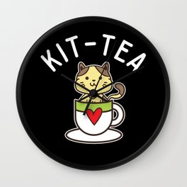 Kit Tea Cat Lover Tea Drinker Cute Kitten Tea Gift Wall Clock