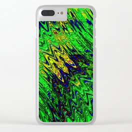Green waves abstract Clear iPhone Case