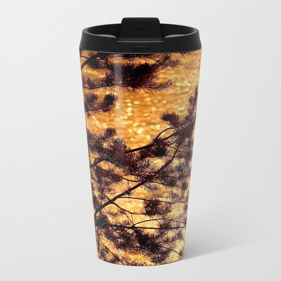 Pine Silhouette at Sunset Metal Travel Mug