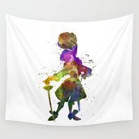 hook Wall Tapestries featuring Captain Hook in watercolor by Paulrommer