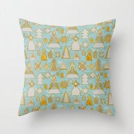 christmas tree gold pattern Throw Pillow