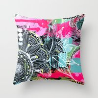 alisa burke Throw Pillows featuring pink and black by Alisa Burke