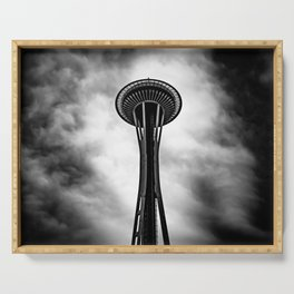 Space Needle Black and white Serving Tray