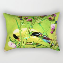 Goldfinch Yellow Bird Purple Flowers A101 Rectangular Pillow