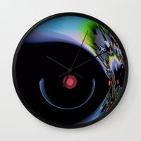 pushing daisies Wall Clocks featuring Pushing Forward by Jim Pavelle