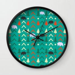 Winter bear pattern in green Wall Clock