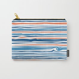 Modern Abstract Ocean Wave Stripes in Classic Blues and Orange Carry-All Pouch