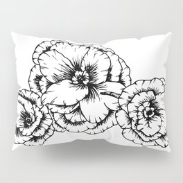 Poppies in Black Pillow Sham