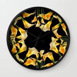 Golden Calla Lilies Black Garden Art Wall Clock