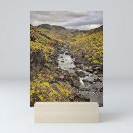 Iceland Mountain Stream Landscape Mini Art Print