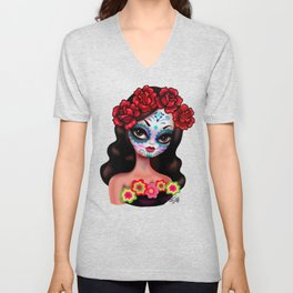 Day of the dead Girl with Roses Unisex V-Neck