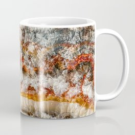 Agate Crystal IV // Red Gray Black Yellow Orange Marbled Diamond Luxury Gemstone Coffee Mug