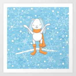 Bunny and Snowflakes_2 Art Print