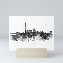 Washington DC Skyline Black and White Mini Art Print