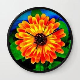 Orange Marigold Wall Clock