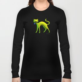 The Yellow Cat And Glass Blue Cherry Long Sleeve T-shirt