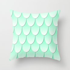 Fish Scale Pattern - Mint/White Throw Pillow