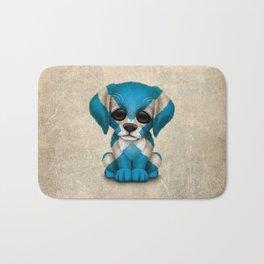 Cute Puppy Dog with flag of Scotland Bath Mat