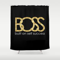 boss Shower Curtains featuring Boss by He Say She Say