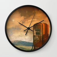 pocket fuel Wall Clocks featuring old fuel pump by Cenk Cansever
