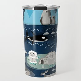 Arctic animals blue Travel Mug