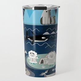 Arctic animals blue Travel Mug