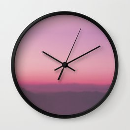 Pink Mountain Sky Wall Clock