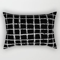 Black and white grid abstract minimal gridded pattern gifts basic nursery home decor Rectangular Pillow