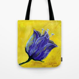 Purple tulip on yellow, acrylic painting Tote Bag