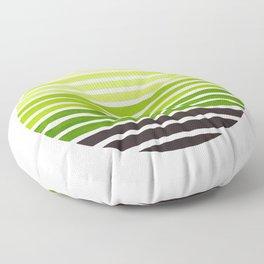 Sap Green Mid Century Modern Minimalist Scandinavian Colorful Stripes Geometric Pattern Round Circle Floor Pillow