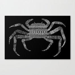 Crab (On Black) Canvas Print