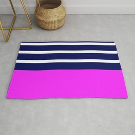 Summer Patio Perfect, Pink, White, Navy Rug