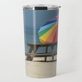 Summer Beach Photograph with Pinic Table and Umbrella Travel Mug