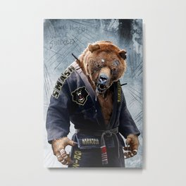 Jiu Jitsu Grizzly Metal Print