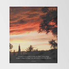 Serenity Prayer Sunset Red Clouds Throw Blanket