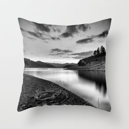 """Silver Lake At Sunset"". Bw Throw Pillow"