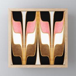 Mid Century Modern Liquid Watercolor Abstract // Gold, Blush Pink, Brown, Black, White Framed Mini Art Print