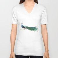 peacock V-neck T-shirts featuring Peacock by Ivanushka Tzepesh