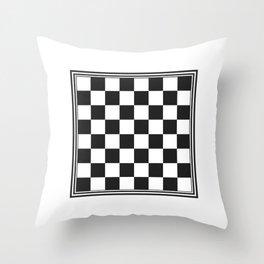 Vintage Chessboard & Checkers Black on White Throw Pillow