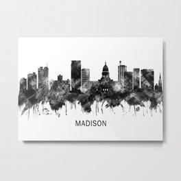 Madison Wisconsin Skyline BW Metal Print