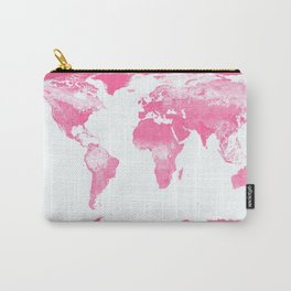 world mAp Pink Carry-All Pouch