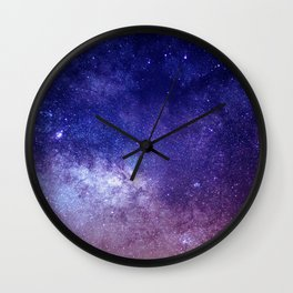 STARS - NIGHT - GALAXY - PURPLE - PINK - INDIGO Wall Clock