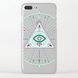 Evil Eye Mandala – Mint Clear iPhone Case