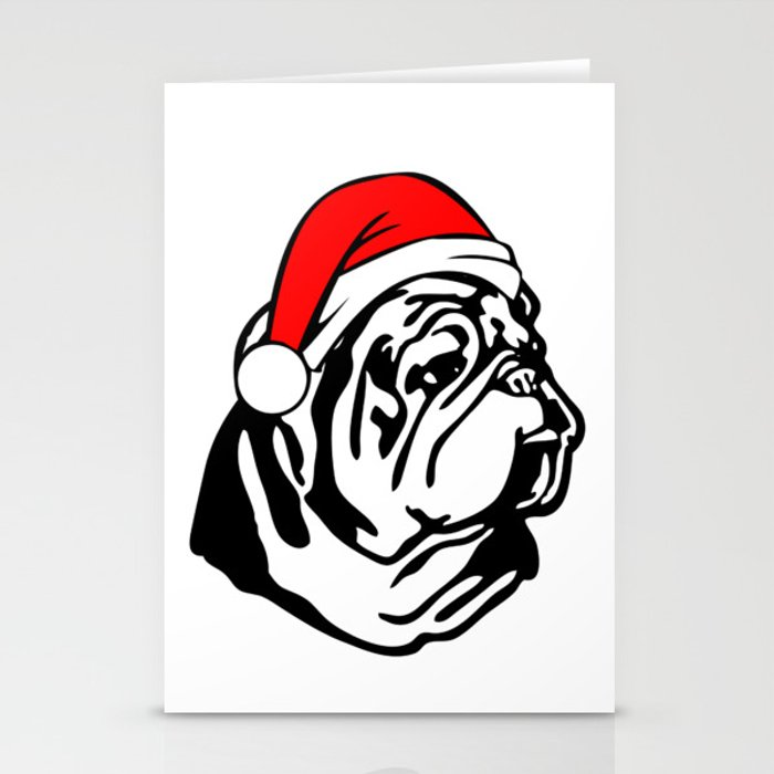 Bulldog with Christmas Santa Hat Stationery Cards