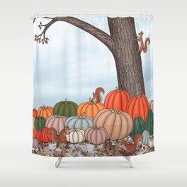heirloom pumpkins, squirrels, & the oak tree Shower Curtain