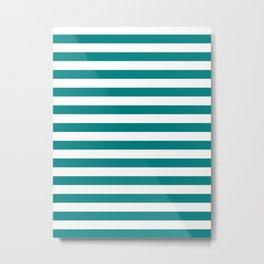 Narrow Horizontal Stripes - White and Dark Cyan Metal Print