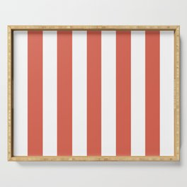 Jelly bean pink - solid color - white vertical lines pattern Serving Tray